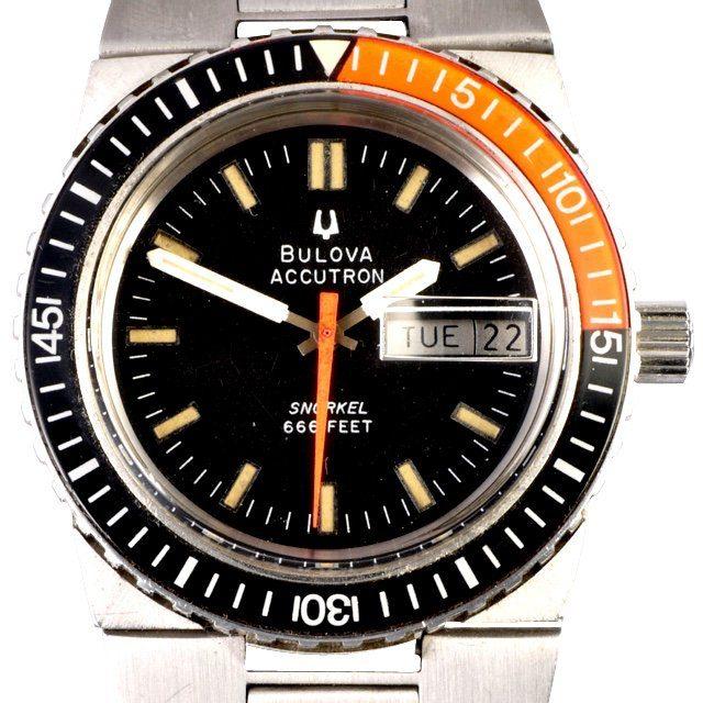 1974 Bulova Accutron Snorkel integrated bracelet